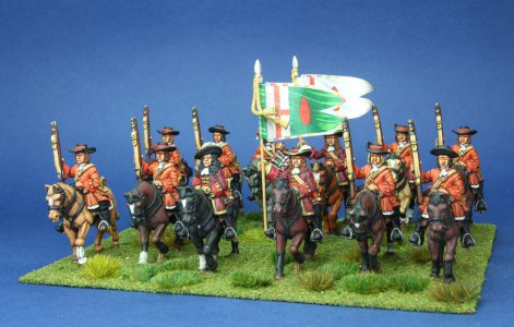 28mm Late 17th Century. O'Neills Dragoons, painted by Phil Robinson, Flags by Warfare Miniatures