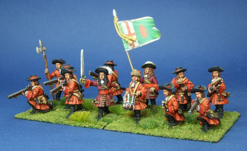 28mm Late 17th Century, O'Neills Dragoons, painted by Phil Robinson, Flag by Warfare miniatures