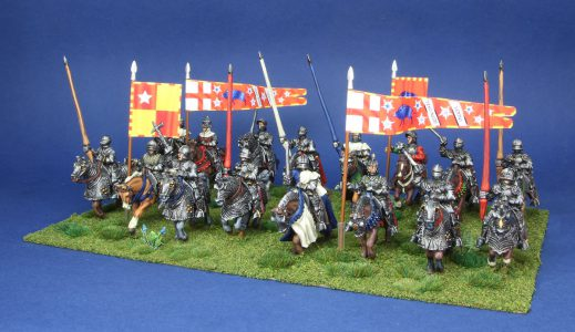 28mm Wars of the Roses. Earl of Oxfords mounted group, painted by Artmaster studios, flags by Battleflags