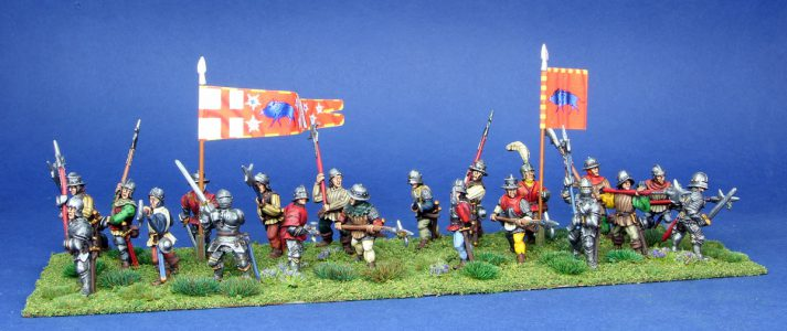 28mm Wars of the Roses. Earl of Oxfords Infantry.painted by Artmaster Studios, flags by Battleflags