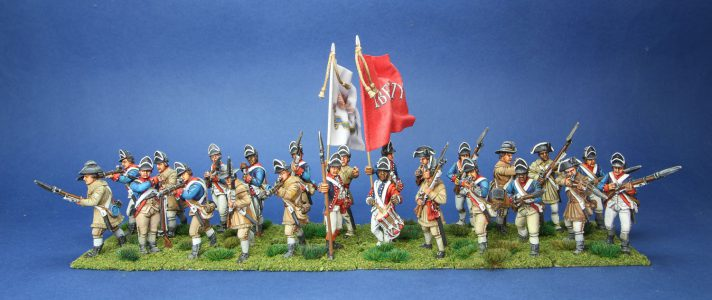 40mm AWI Continental Light Infantry. painted by Tony Runkee. flags by Jon Hutchinson