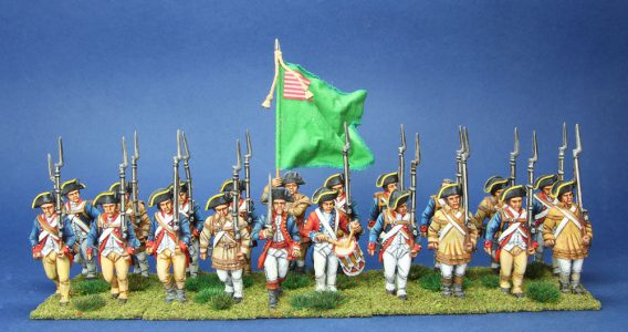 40mm AWI Continental Delaware Regiment, painted by Tony Runkee. flag by Jon Hutchinson